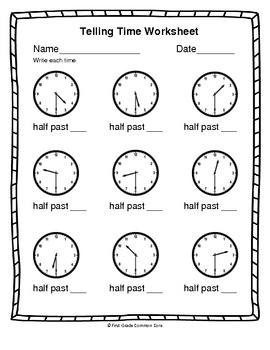 Common Core Telling Time Worksheets by First Grade Common