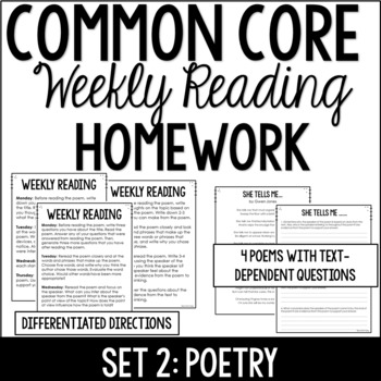 Common Core Weekly Reading Homework Review {Set 2: Poetry