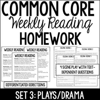 Common Core Weekly Reading Homework Review {Set 3: Play