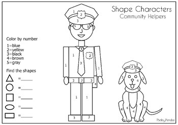 Community Helper Shape Characters (find and count the