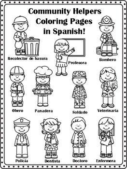 Community Helpers Coloring Pages in Spanish! by Miss P's