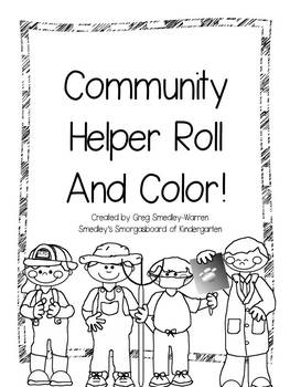 Community Helpers Roll and Color FREEBIE! by Kindergarten