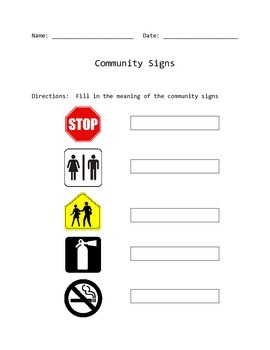 Community Signs Match and Fill In Worksheet by