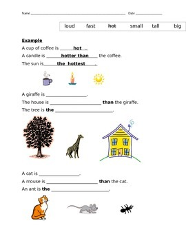 Comparative And Superlative Adjectives Worksheet By Marlyn