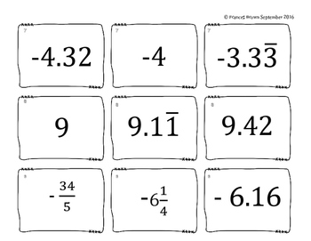 Compare & Order Rational Number Cards by Texas Math in