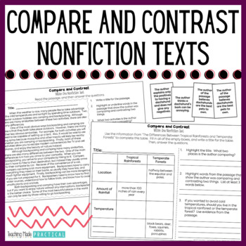 grade 2 venn diagram worksheets daisy chain electrical wiring compare and contrast nonfiction - passages | tpt