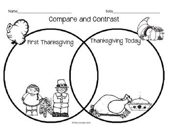 how to fill out a venn diagram 2006 honda pilot fuse compare and contrast thanksgiving by nina the geek librarian | tpt