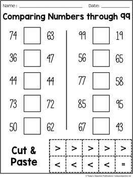 Comparing 2-Digit Numbers (First Grade Cut and Paste