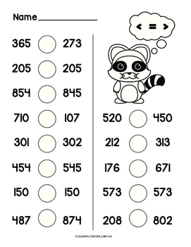 Comparing 3 digit numbers common core math worksheet by