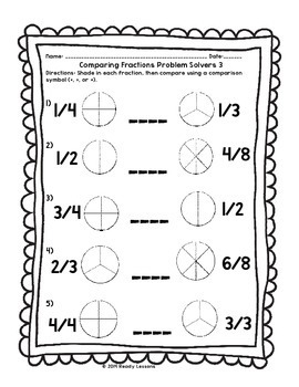 Greater Than Less Than Comparing Fractions Worksheets 3rd