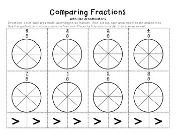 Comparing Fractions cut and paste by Resources to the