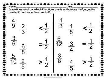 Comparing Fractions with Benchmarks Worksheets CCSS Math 3