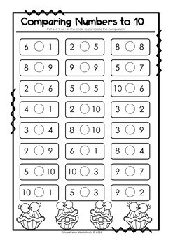 Comparing Numbers to 10 (greater than, less than) by