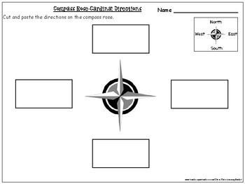Compass Rose- Cardinal Directions Cut and Paste Activity