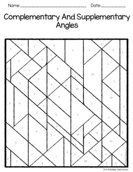 Complementary and Supplementary Angles Coloring Worksheet