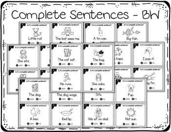Complete Sentence Task Cards with Anchor Charts & Games