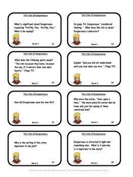 Comprehension Game for The Tale of Despereaux Tale of