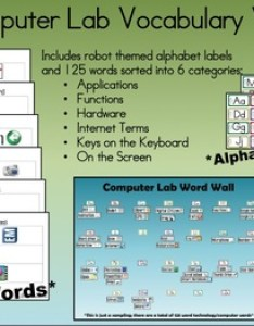 Computer lab technology vocabulary word wall also by connecting the bots rh teacherspayteachers
