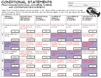 Conditional Statements Practice Chart: Inverse, Converse