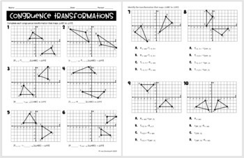 Congruence Transformations- digital assignment for use