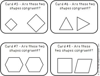 Congruent Shapes and Lines of Symmetry Task Cards by Third