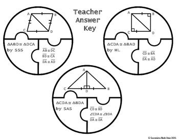 Congruent Triangles (SSS,SAS, ASA, AAS, HL) Cut, Paste