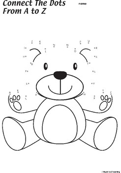 Connect the Dots Teddy Bear Coloring Worksheet by Maple