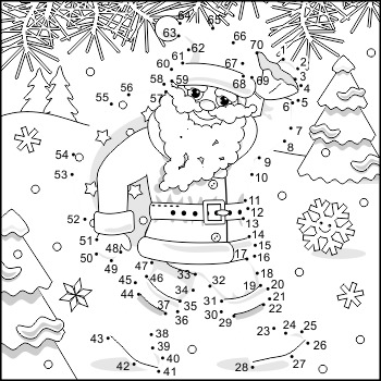 Connect the Dots and Coloring Page with Santa Klaus
