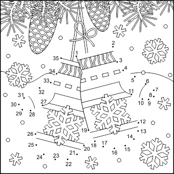 Connect the Dots and Coloring Page with Santa's Mittens