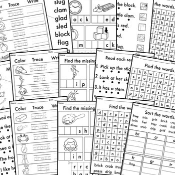 NO PREP Phonics Worksheets Consonant Blends Word Work