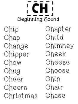 Consonant Blends (ch) sentences, words, paragraphs and