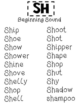 Consonant Blends for Sh (Initial, Medial & final