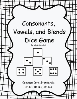 Consonants, Vowels, and Blends Dice Game by Learning is
