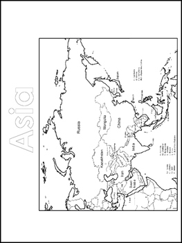 Continent Map and World Map Color Sheets. Worksheets