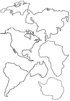 Continents 3-part cards, Outlines, Silhouettes