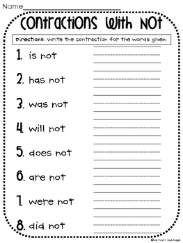 Contractions With Not Worksheet By Whitney Gulledge  Tpt