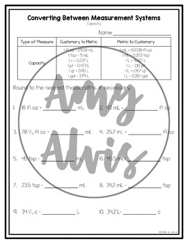 Converting Between Measurement Systems NO PREP Printables