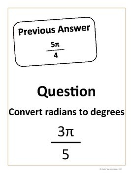 Converting Between Radians and Degrees Scavenger Hunt