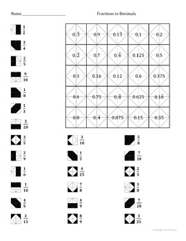 Converting Fractions To Decimals Color Worksheet by Aric