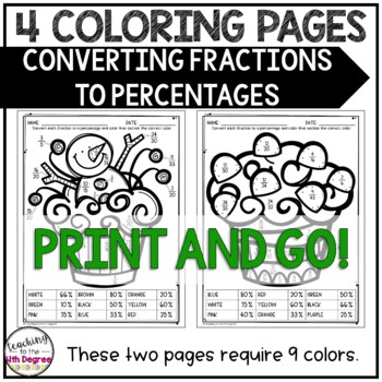 Converting Fractions to Percentages: Holiday Coloring
