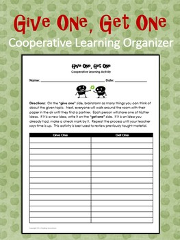 Cooperative Learning Organizer Give One Get One By Reading Innovations
