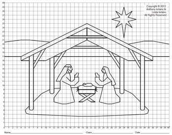 Nativity, Creche, Christmas, Coordinate Drawing & Graphing