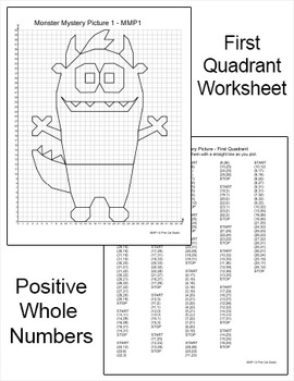 Monsters Coordinate Graphing Ordered Pairs Mystery