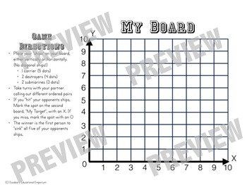 Coordinate Grid Battleship by Escobar's Educational