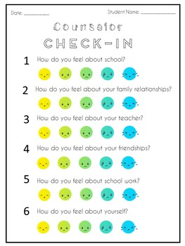 Counselor Check In Worksheet By Rachel The Counselor
