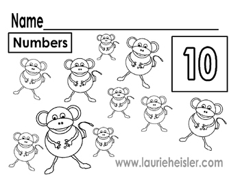 Count the monkeys and color math worksheets by Meet The