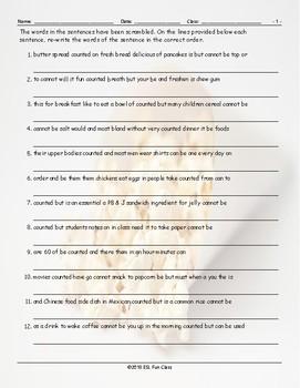 CountableUncountable Nouns Scrambled Sentences Worksheet