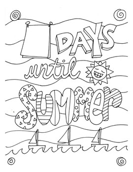 Countdown to Summer DESIGN Coloring Page by