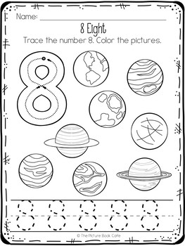 Space Themed Worksheets Preschool by The Picture Book Cafe