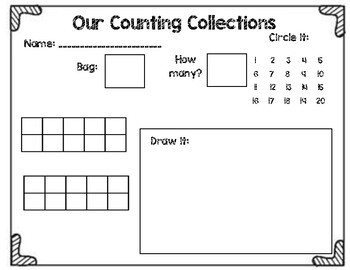Counting Collections Recording Sheet #1-20 by Duncan's